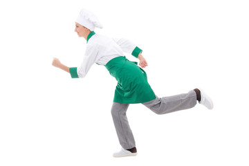 fast food concept - happy woman in chef uniform running isolated
