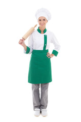happy woman in chef uniform with wooden baking rolling pin - ful