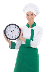 young attractive woman in chef uniform with office clock isolate