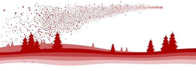 Rote Weihnachtskarte, Sternschnuppe, Winterlandschaft, Panorama