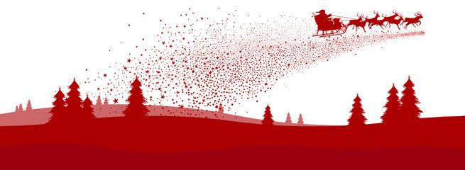 Weihnachskarte, Sternschnuppe, Weihnachtsmann, Winterlandschaft