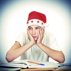 Bored Student in Santas Hat