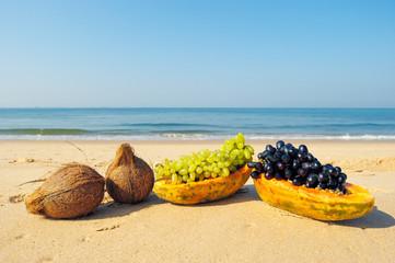 Fruits on beach