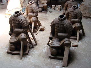 terracotta statues being made