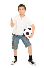 soccer boy studio isolated