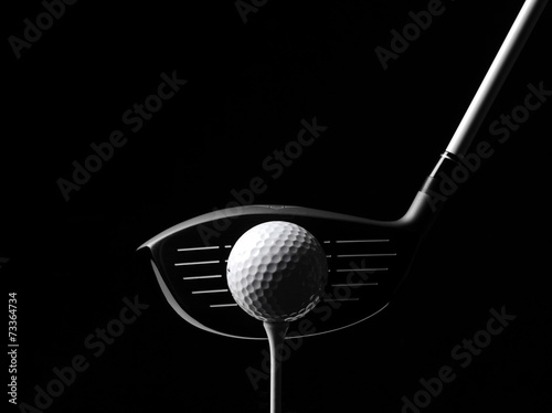 Fotobehang Golf Golf Wood with a Golf Ball and Golf Tee