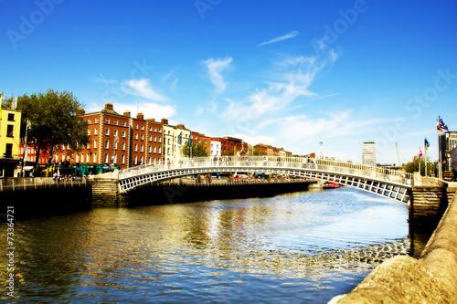 Poster Ha'penny Bridge, Liffey river, Dublin city center.
