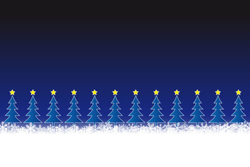 Reihe Weihnachtsbäume vor Nachthimmel