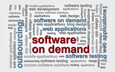 Keyword  Software on demand wordcloud, vector