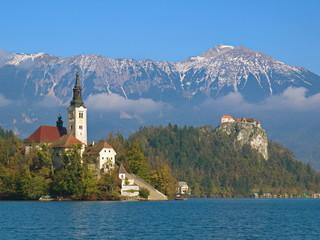 Marienkirche und Burg Bled am Bleder See / Slowenien