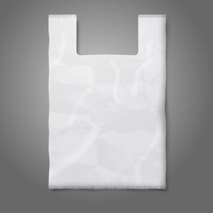 Blank white plastic bag with place for your design and branding