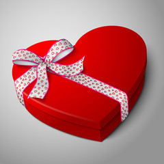 Vector realistic blank bright red heart shape box with pink and