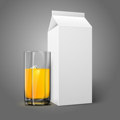 Realistic white blank paper package and glass for juice, milk,