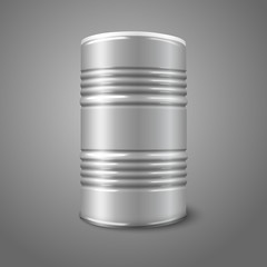 Blank vector big oil barrel isolated on gray. With place for