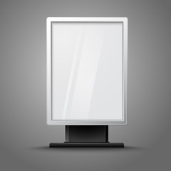 Blank white vertical billboard with place for your design and