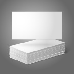 Blank vector business cards template. Pile  and one flat.