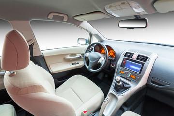 Modern beige car interior