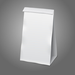 Blank white vector realistic paper packaging bag with place for