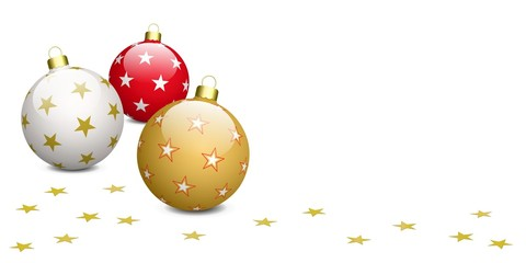 Boules de Noël et étoiles sur fond blanc