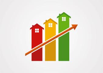 Home fullcolor growth arrow logo vector