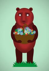 Cute Bear. Bouquet of flowers