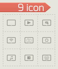 Vector black tablet icon set