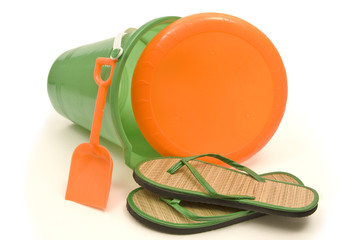 Child's Sandals and Beach Toy Set