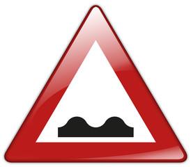 Button Patch Schild Achtung Straßenschäden Bodenwellen