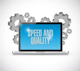 speed and quality laptop illustration