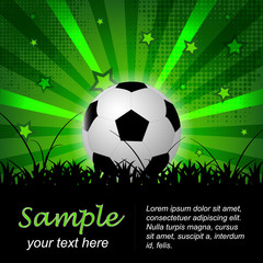 Soccer or football vector background with ball and stars