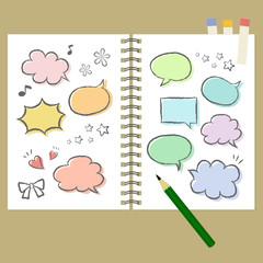 ノートと手描き吹き出し 素材 / vector eps10