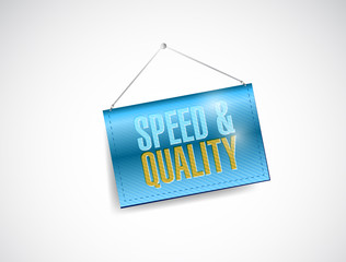 speed and quality hanging banner illustration