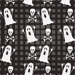 Seamless Halloween pattern with ghost, sculls and bones