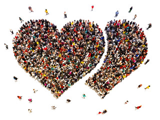 People finding love. Crowd of people in the shape of hearts.