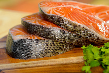 Delicious  portion of fresh salmon fillet