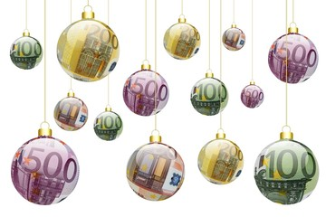 Boules de noël 50, 100, 200, 500 € suspendues