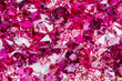 Closeup photo of many small ruby and diamond stones - 73367941