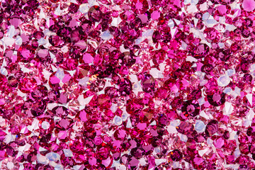 Many small ruby and diamond stones, luxury background