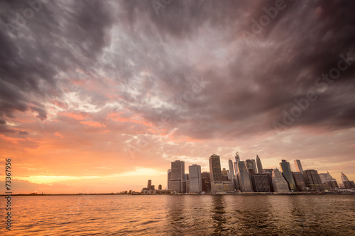 New York City Lower Manhattan Cityscape at Sunset