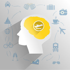 Human brain with traveling thinking