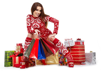 a beauty winter girl with christmas gift