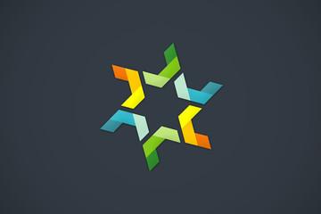 circular star abstract color ribbon design logo