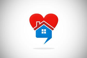 love home talk bubble heart design logo