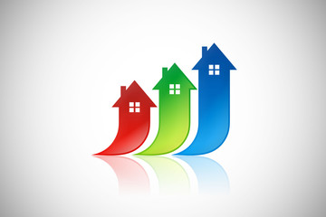 home building realty arrow up color logo