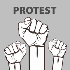 clenched fist held in protest vector illustration. freedom