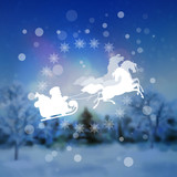 Santa Riding Sleigh Christmas Background