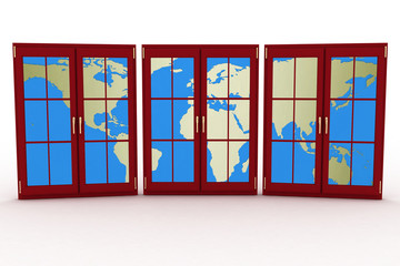 3d closed plastic windows wiht map of world on white