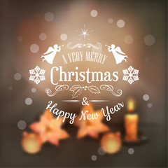 Vector Christmas Typography Blurred Background