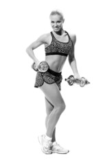 female with dumbbells