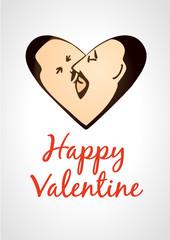 Gay valentine card kissing men in heart shape